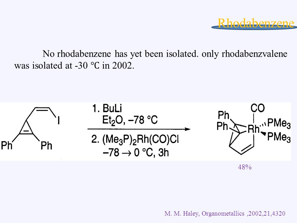 Rhodabenzene No rhodabenzene has yet been isolated.