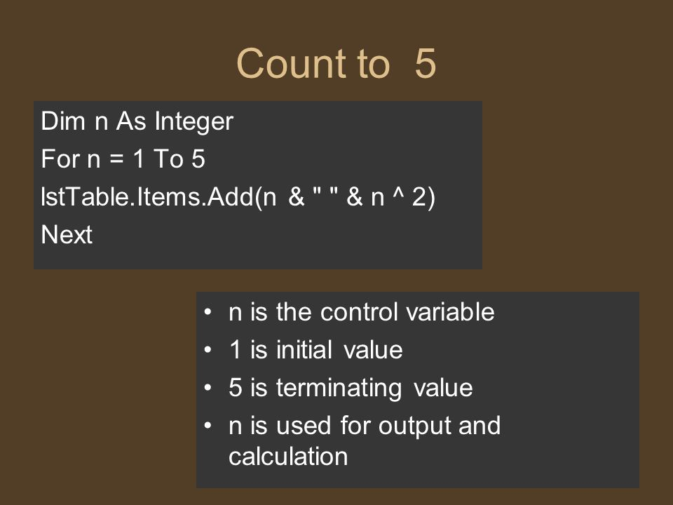 Count to 5 Dim n As Integer For n = 1 To 5 lstTable.Items.Add(n & & n ^ 2) Next n is the control variable 1 is initial value 5 is terminating value n is used for output and calculation