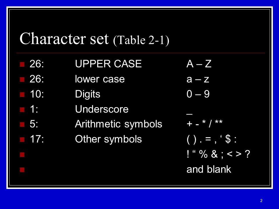 2 Character set (Table 2-1) 26:UPPER CASEA – Z 26:lower casea – z 10:Digits0 – 9 1:Underscore_ 5:Arithmetic symbols+ - * / ** 17:Other symbols( ).