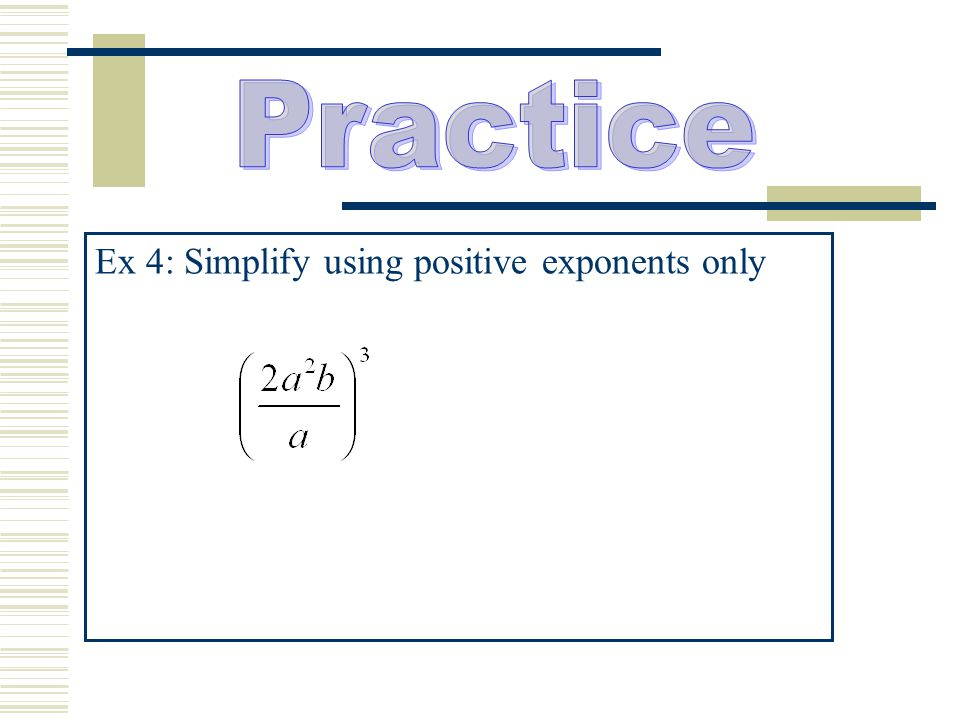 Ex 4: Simplify using positive exponents only