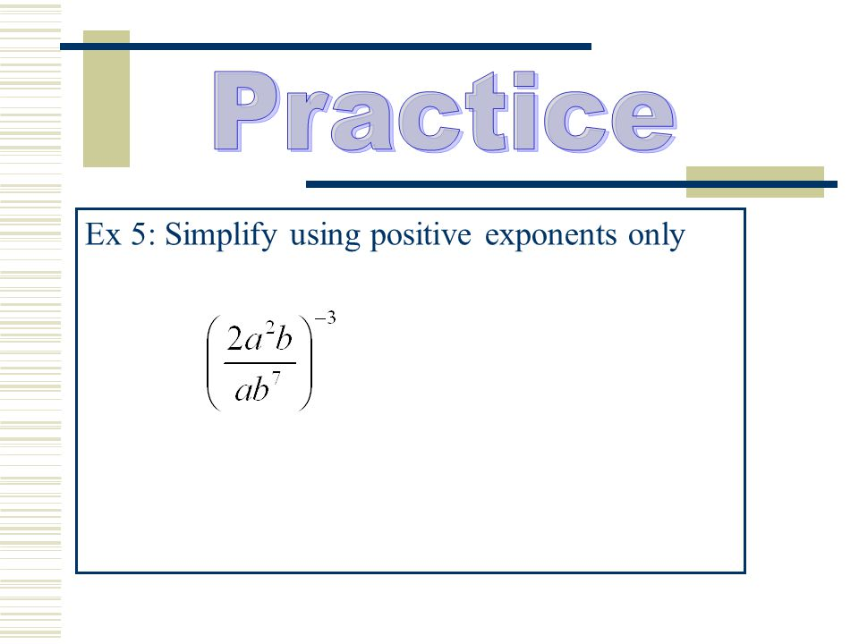 Ex 5: Simplify using positive exponents only