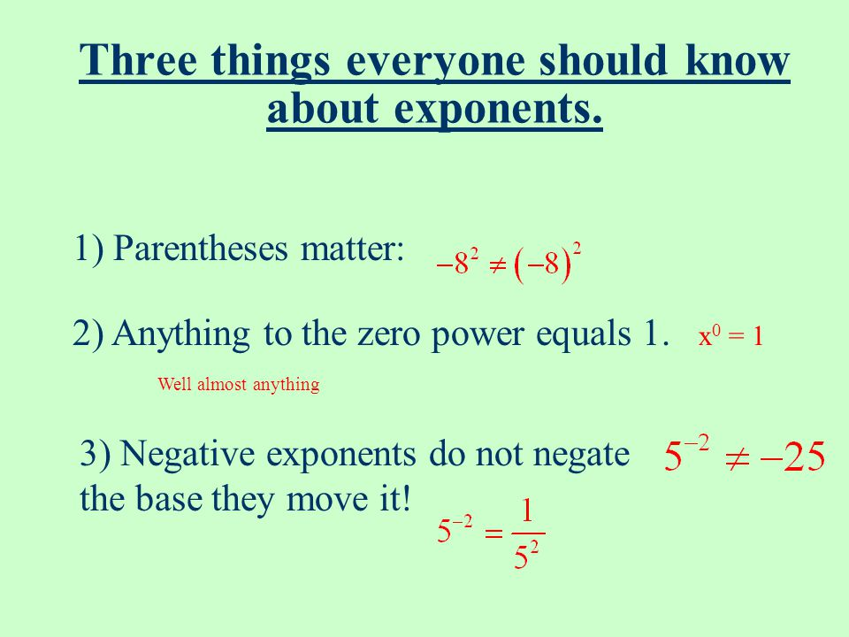 Three things everyone should know about exponents.