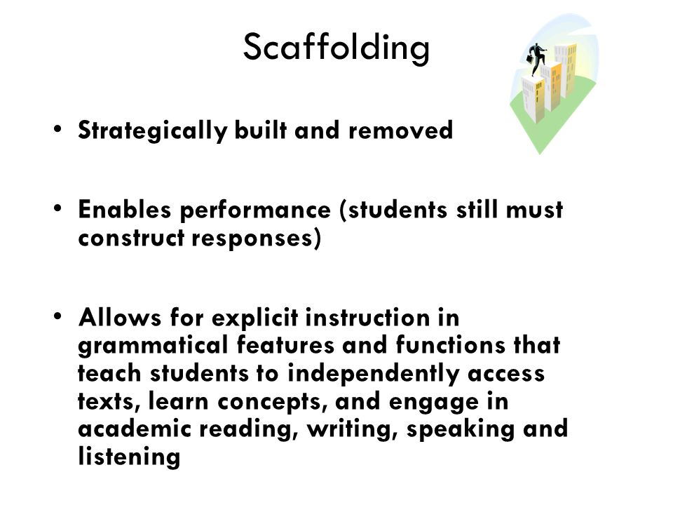 Scaffolding Strategically built and removed Enables performance (students still must construct responses) Allows for explicit instruction in grammatical features and functions that teach students to independently access texts, learn concepts, and engage in academic reading, writing, speaking and listening