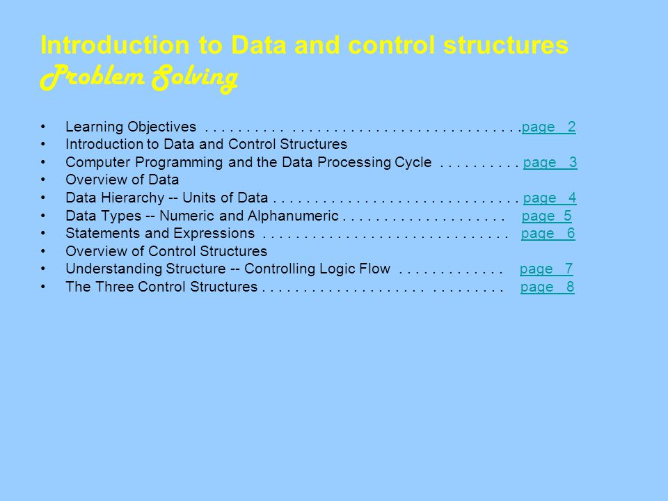 Introduction to Data and control structures Problem Solving Learning Objectives......................................page 2page 2 Introduction to Data and Control Structures Computer Programming and the Data Processing Cycle..........