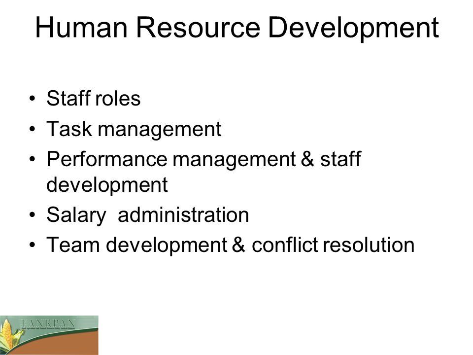 Human Resource Development Staff roles Task management Performance management & staff development Salary administration Team development & conflict re