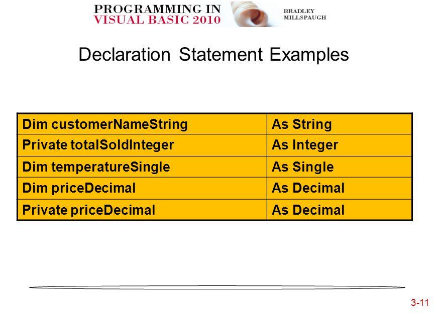 3-11 3- Declaration Statement Examples Dim customerNameStringAs String Private totalSoldIntegerAs Integer Dim temperatureSingleAs Single Dim priceDecimalAs Decimal Private priceDecimalAs Decimal