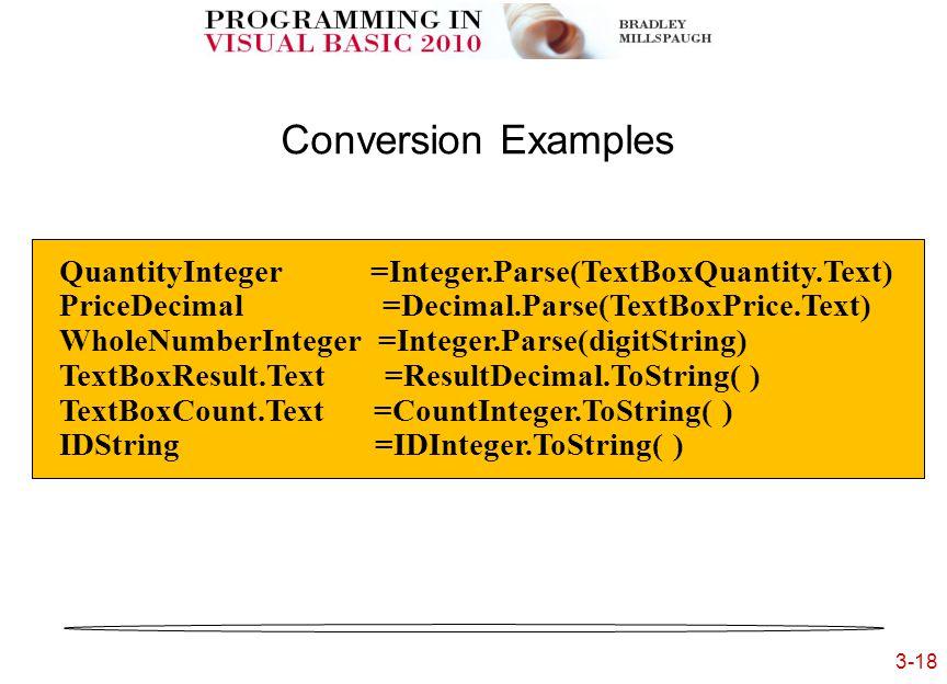 3-18 3- Conversion Examples QuantityInteger =Integer.Parse(TextBoxQuantity.Text) PriceDecimal =Decimal.Parse(TextBoxPrice.Text) WholeNumberInteger =Integer.Parse(digitString) TextBoxResult.Text =ResultDecimal.ToString( ) TextBoxCount.Text =CountInteger.ToString( ) IDString =IDInteger.ToString( )