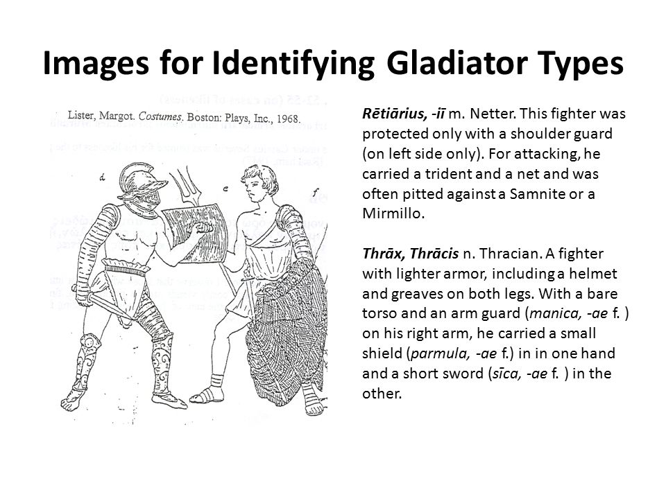 Images for Identifying Gladiator Types Rētiārius, -iī m. Netter. This fighter was protected only with a shoulder guard (on left side only). For attack