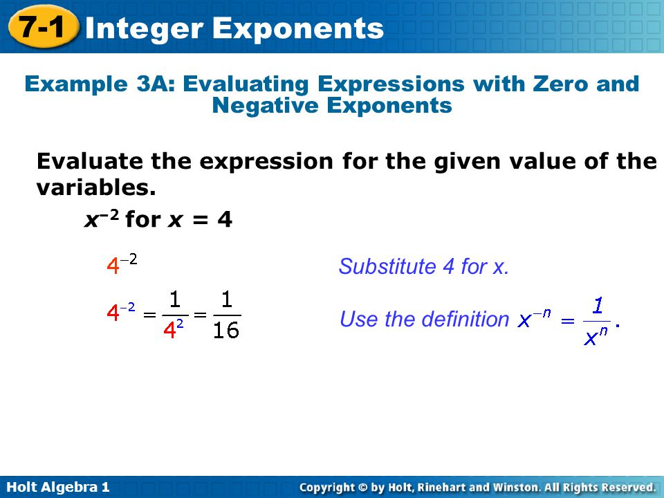 Holt Algebra 1 7-1 Integer Exponents Example 3A: Evaluating Expressions with Zero and Negative Exponents Evaluate the expression for the given value of the variables.