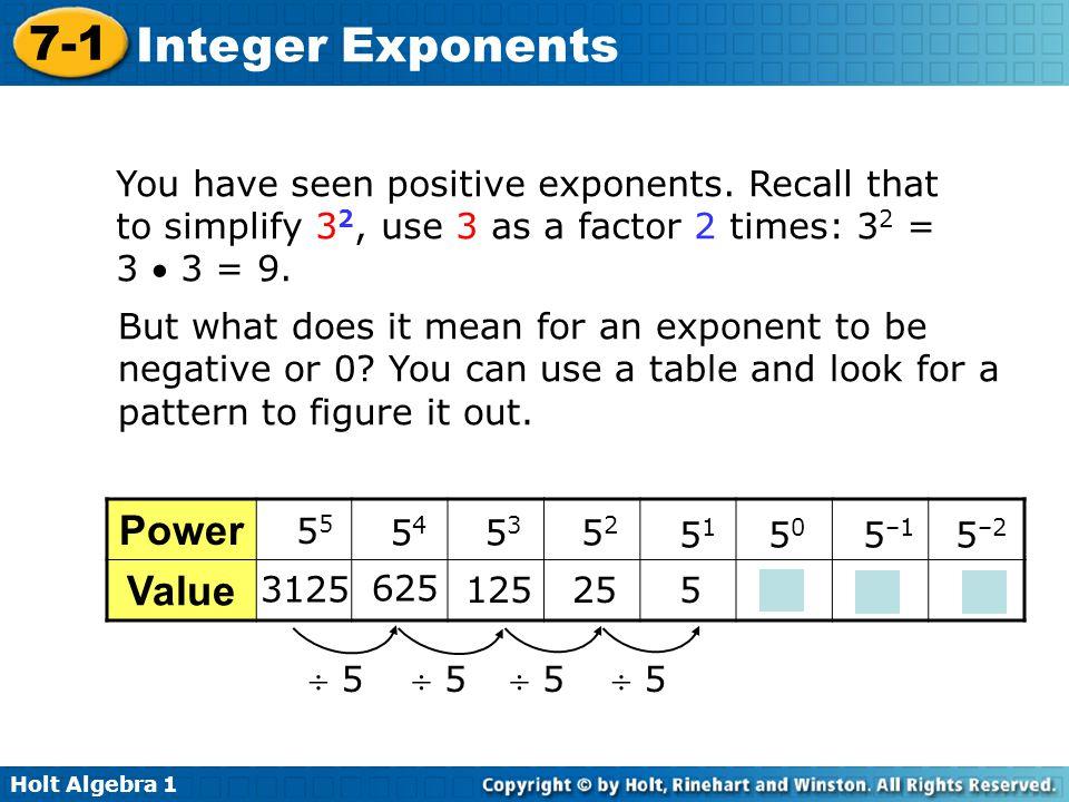 Holt Algebra 1 7-1 Integer Exponents You have seen positive exponents.