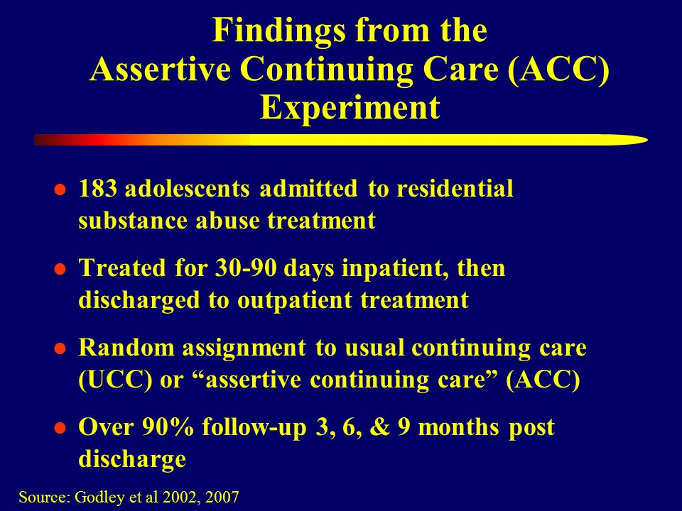 Findings from the Assertive Continuing Care (ACC) Experiment 183 adolescents admitted to residential substance abuse treatment Treated for 30-90 days inpatient, then discharged to outpatient treatment Random assignment to usual continuing care (UCC) or assertive continuing care (ACC) Over 90% follow-up 3, 6, & 9 months post discharge Source: Godley et al 2002, 2007