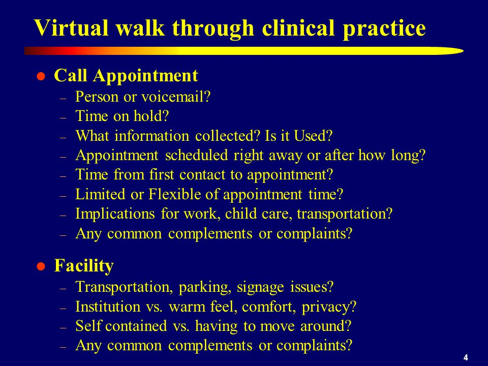 4 Virtual walk through clinical practice Call Appointment – Person or voicemail.