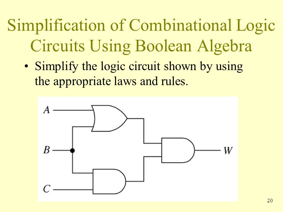 Simplification of Combinational Logic Circuits Using Boolean Algebra Simplify the logic circuit shown by using the appropriate laws and rules. 20