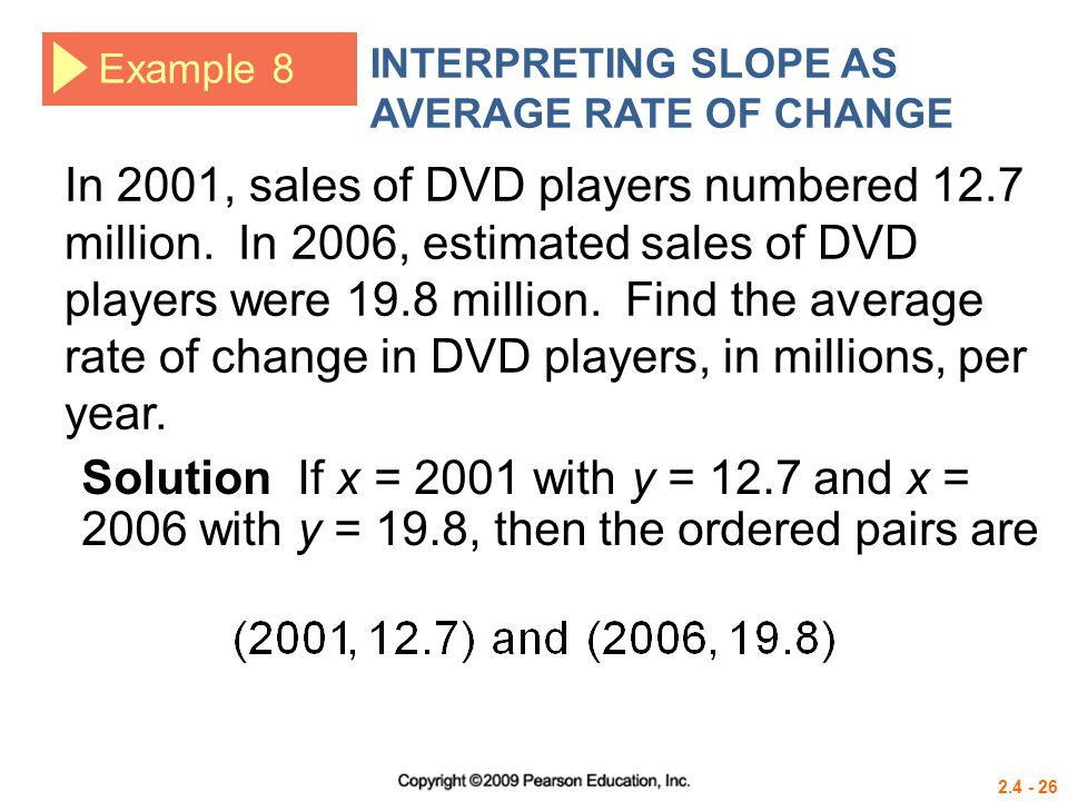 2.4 - 26 Example 8 INTERPRETING SLOPE AS AVERAGE RATE OF CHANGE In 2001, sales of DVD players numbered 12.7 million. In 2006, estimated sales of DVD p