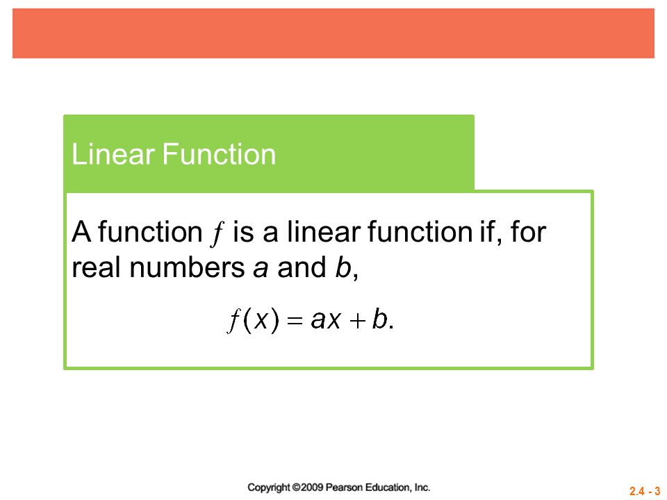 2.4 - 4 Example 1 GRAPHING A LINEAR FUNCTION USING INTERCEPTS Graph  (x) = – 2x + 6.