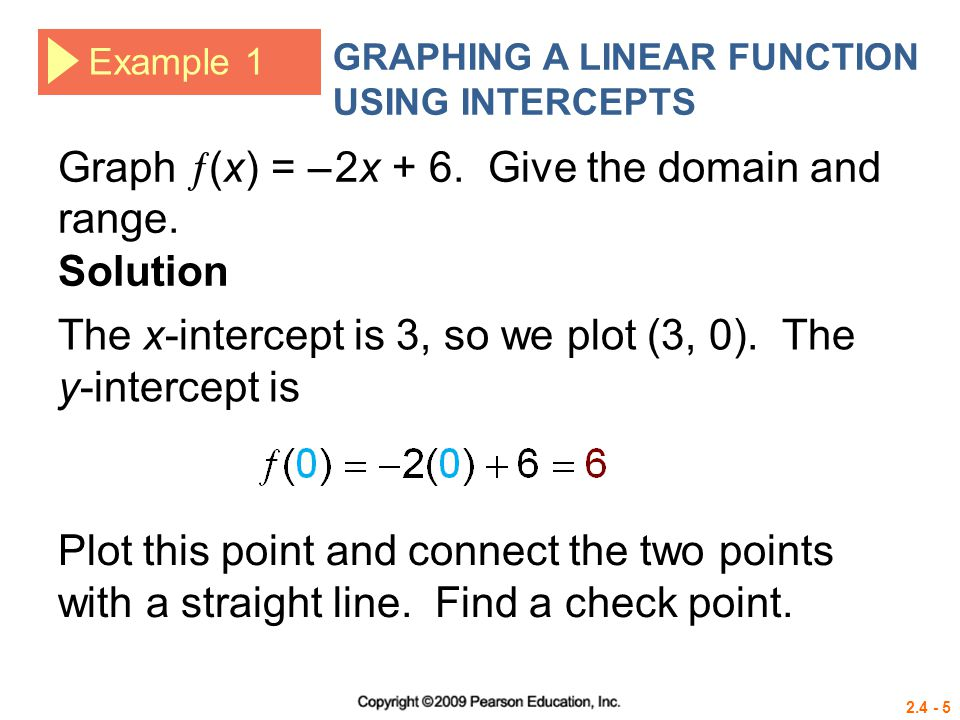 2.4 - 5 Example 1 GRAPHING A LINEAR FUNCTION USING INTERCEPTS Graph  (x) = – 2x + 6. Give the domain and range. Solution The x-intercept is 3, so we