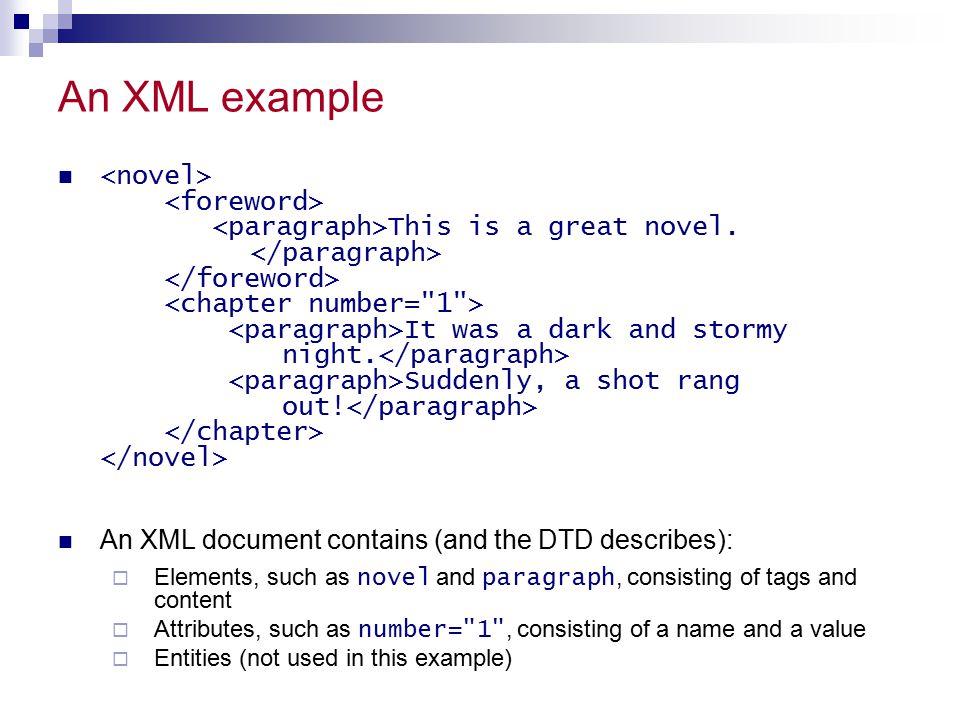 References W3School DTD Tutorial  http://www.w3schools.com/dtd/default.asp MSXML 4.0 SDK http://www.topxml.com http://www.xml.org http://www.xml.com Several online presentations