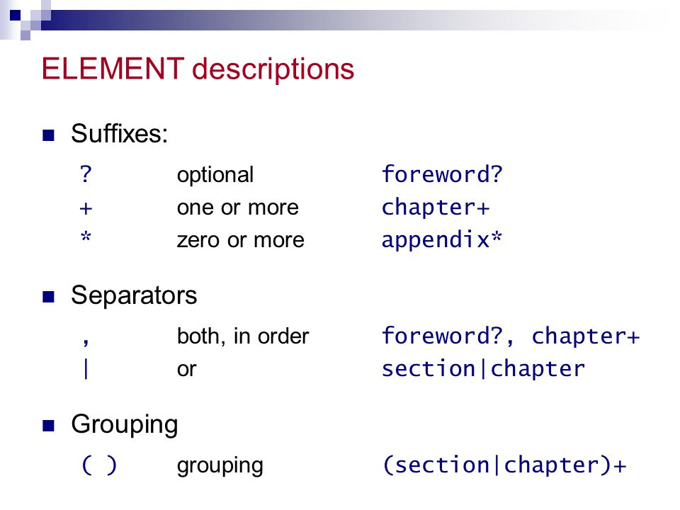 ELEMENT descriptions Suffixes: . optional foreword.