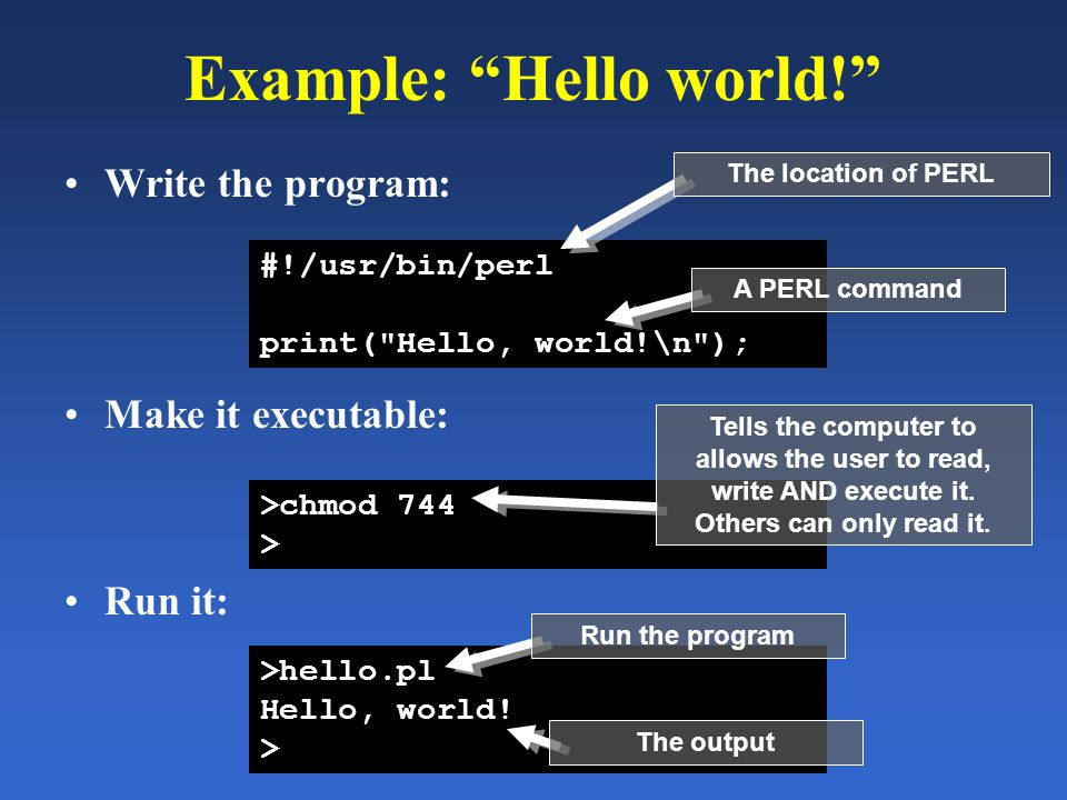 "Example: ""Hello world!"" Write the program: #!/usr/bin/perl print("