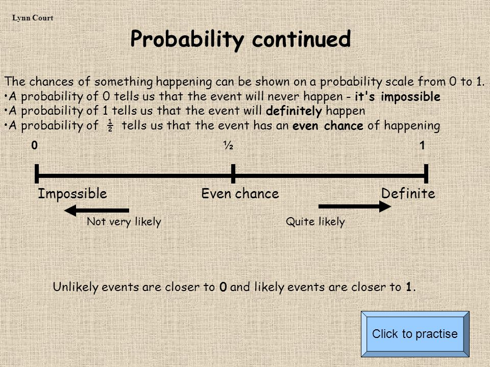 The chances of something happening can be shown on a probability scale from 0 to 1.