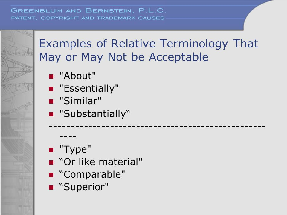 Examples of Relative Terminology That May or May Not be Acceptable