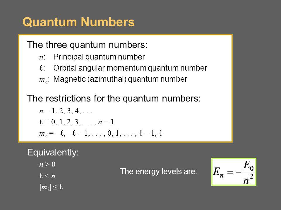 Quantum Numbers The three quantum numbers: n :Principal quantum number ℓ :Orbital angular momentum quantum number m ℓ :Magnetic (azimuthal) quantum number The restrictions for the quantum numbers: n = 1, 2, 3, 4,...