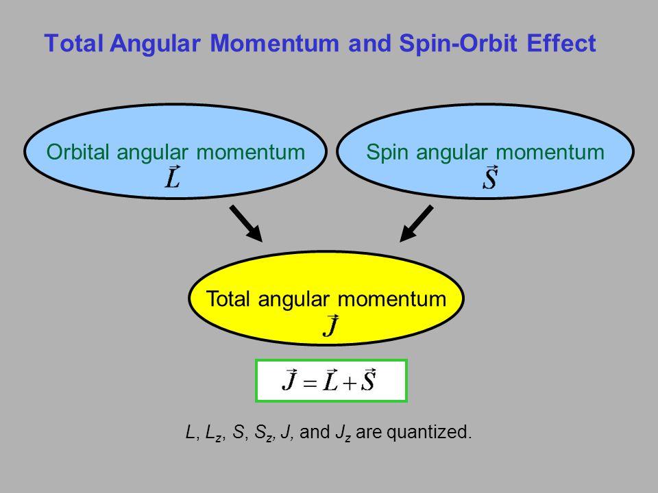 Total Angular Momentum and Spin-Orbit Effect L, L z, S, S z, J, and J z are quantized. Orbital angular momentumSpin angular momentum Total angular mom