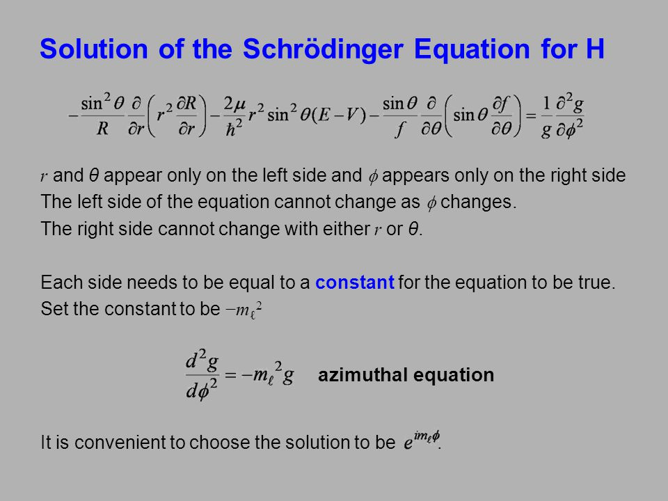 Solution of the Schrödinger Equation for H r and θ appear only on the left side and  appears only on the right side The left side of the equation cannot change as  changes.
