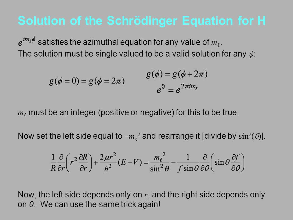 Solution of the Schrödinger Equation for H satisfies the azimuthal equation for any value of m ℓ. The solution must be single valued to be a valid sol