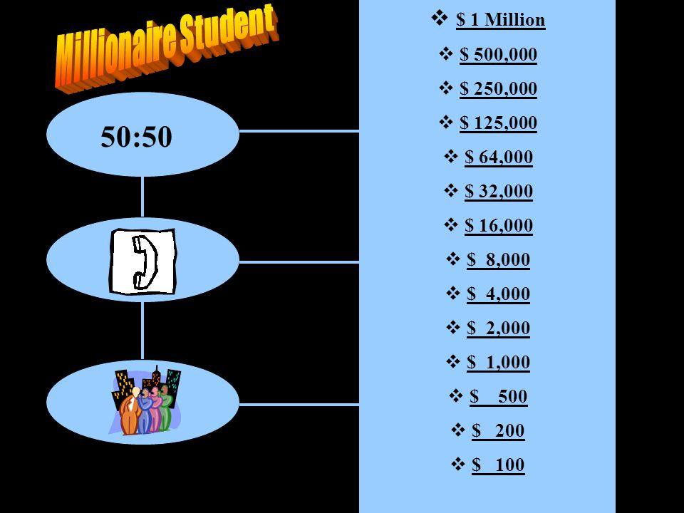 50:50  $ 1 Million $ 1 Million  $ 500,000$ 500,000  $ 250,000$ 250,000  $ 125,000$ 125,000  $ 64,000$ 64,000  $ 32,000$ 32,000  $ 16,000$ 16,000  $ 8,000$ 8,000  $ 4,000$ 4,000  $ 2,000$ 2,000  $ 1,000$ 1,000  $ 500$ 500  $ 200$ 200  $ 100$ 100