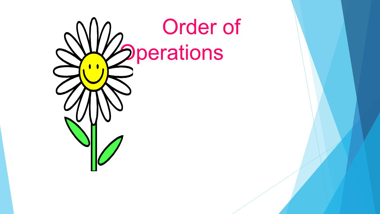 The Order of Operations tells us how to do a math problem with more than one operation, in the correct order.