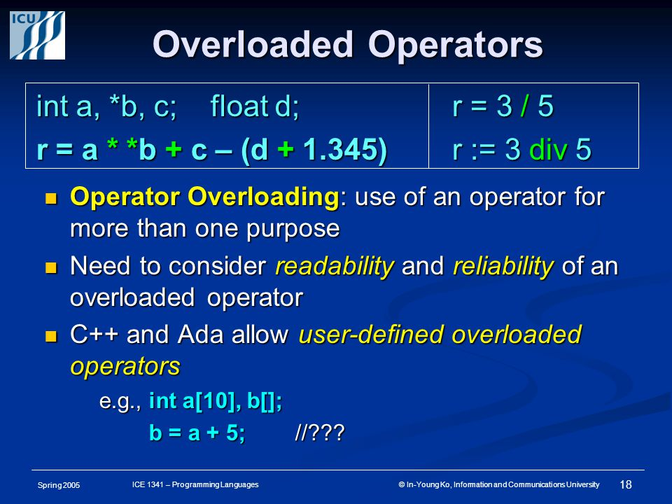 Spring 2005 18 ICE 1341 – Programming Languages © In-Young Ko, Information and Communications University Overloaded Operators Operator Overloading: use of an operator for more than one purpose Operator Overloading: use of an operator for more than one purpose Need to consider readability and reliability of an overloaded operator Need to consider readability and reliability of an overloaded operator C++ and Ada allow user-defined overloaded operators C++ and Ada allow user-defined overloaded operators e.g., int a[10], b[]; b = a + 5; // .