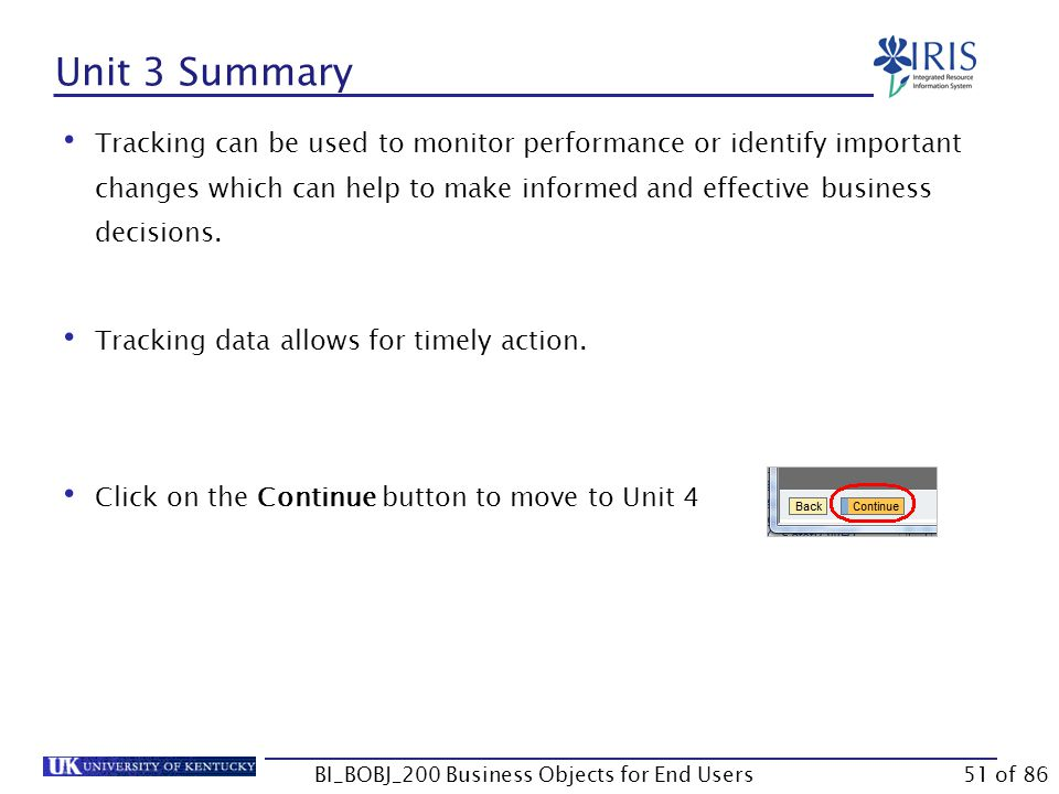 Unit 3 Summary Tracking can be used to monitor performance or identify important changes which can help to make informed and effective business decisions.