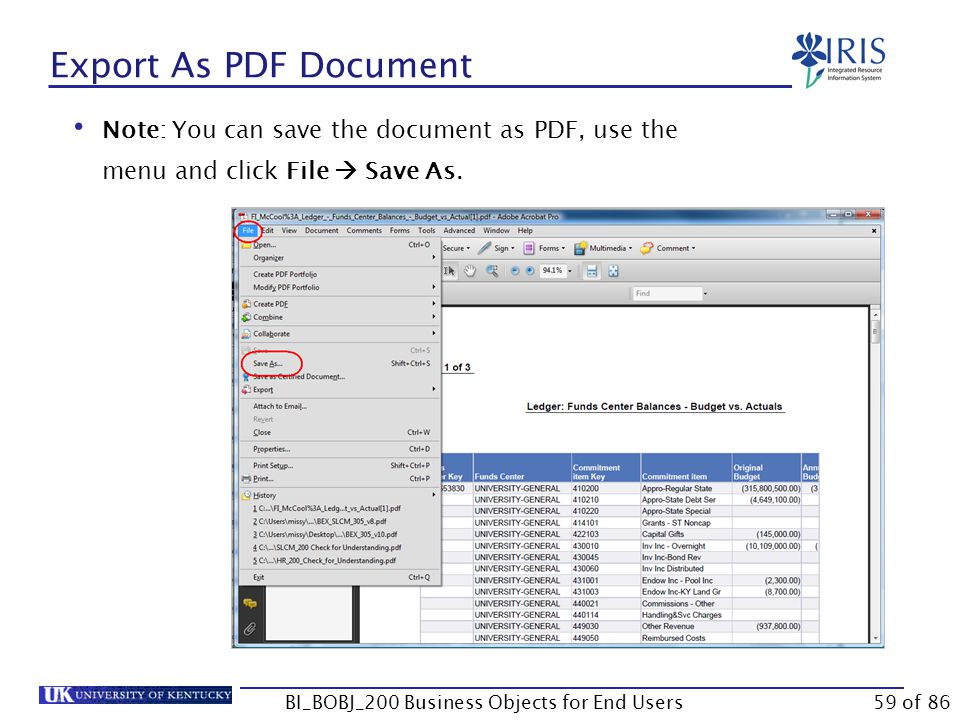Export As PDF Document Note: You can save the document as PDF, use the menu and click File  Save As.