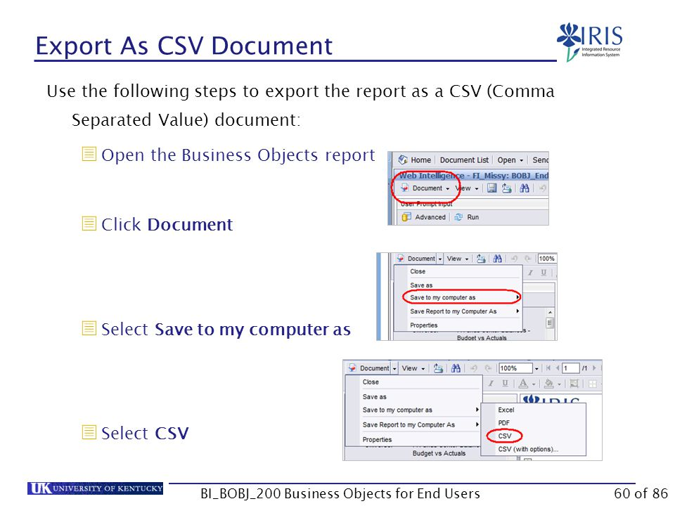 Export As CSV Document Use the following steps to export the report as a CSV (Comma Separated Value) document:  Open the Business Objects report  Click Document  Select Save to my computer as  Select CSV BI_BOBJ_200 Business Objects for End Users60 of 86