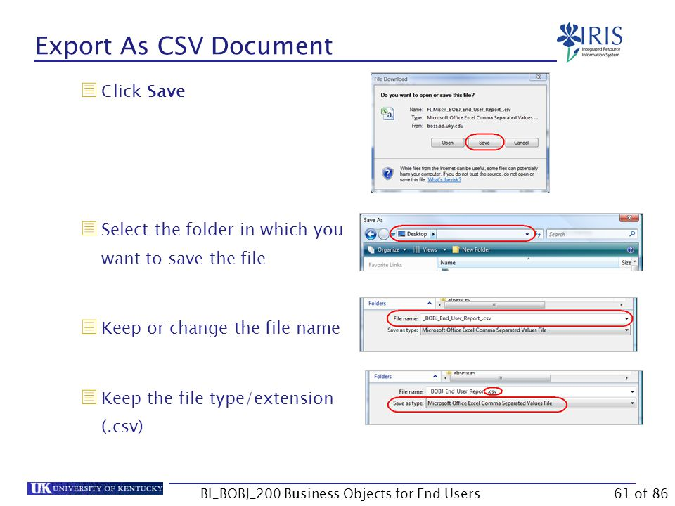 Export As CSV Document  Click Save  Select the folder in which you want to save the file  Keep or change the file name  Keep the file type/extension (.csv) BI_BOBJ_200 Business Objects for End Users61 of 86