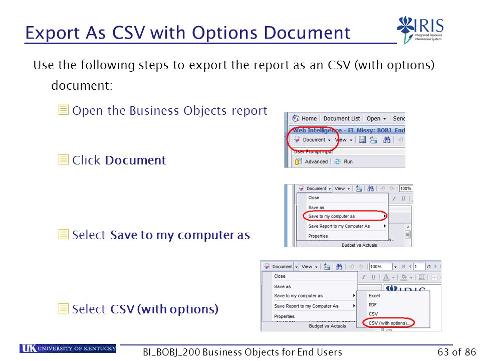 Export As CSV with Options Document Use the following steps to export the report as an CSV (with options) document:  Open the Business Objects report  Click Document  Select Save to my computer as  Select CSV (with options) BI_BOBJ_200 Business Objects for End Users63 of 86