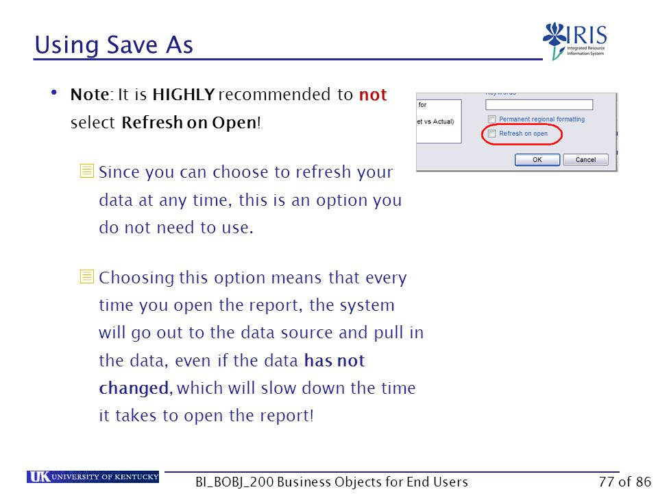 Using Save As not Note: It is HIGHLY recommended to not select Refresh on Open.