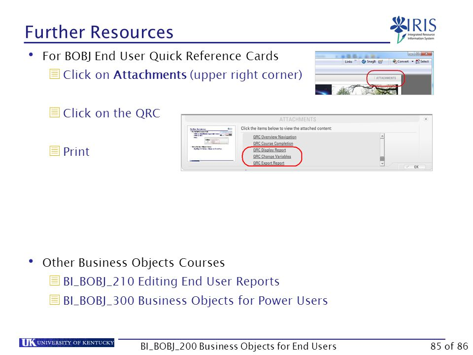 Further Resources For BOBJ End User Quick Reference Cards  Click on Attachments (upper right corner)  Click on the QRC  Print Other Business Objects Courses  BI_BOBJ_210 Editing End User Reports  BI_BOBJ_300 Business Objects for Power Users BI_BOBJ_200 Business Objects for End Users85 of 86