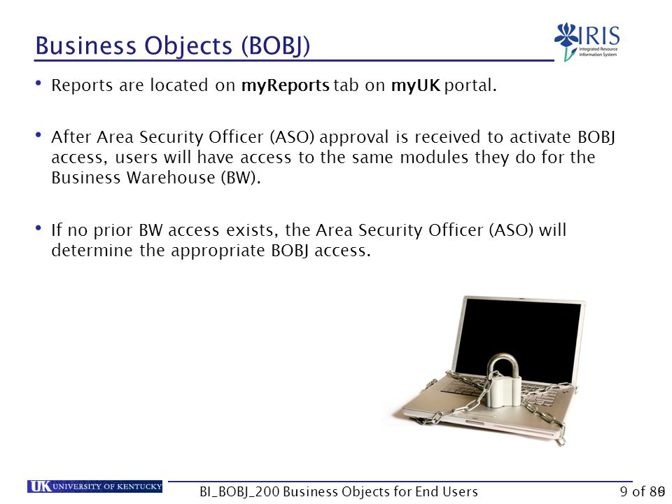 9 Business Objects (BOBJ) Reports are located on myReports tab on myUK portal.