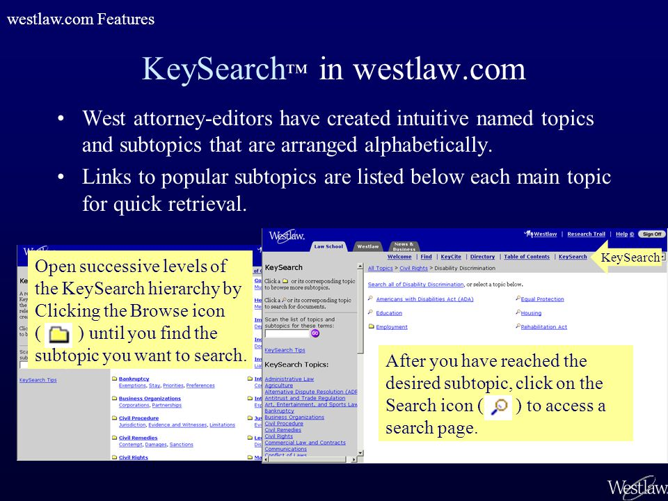 KeySearch ™ in westlaw.com West attorney-editors have created intuitive named topics and subtopics that are arranged alphabetically. Links to popular