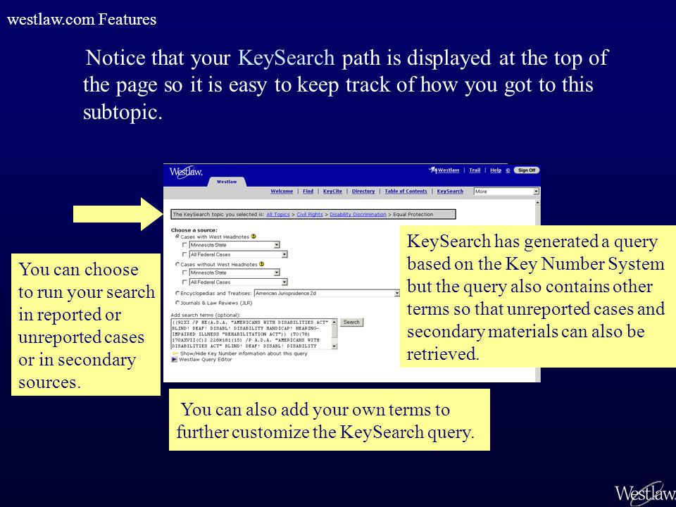 Notice that your KeySearch path is displayed at the top of the page so it is easy to keep track of how you got to this subtopic. KeySearch has generat
