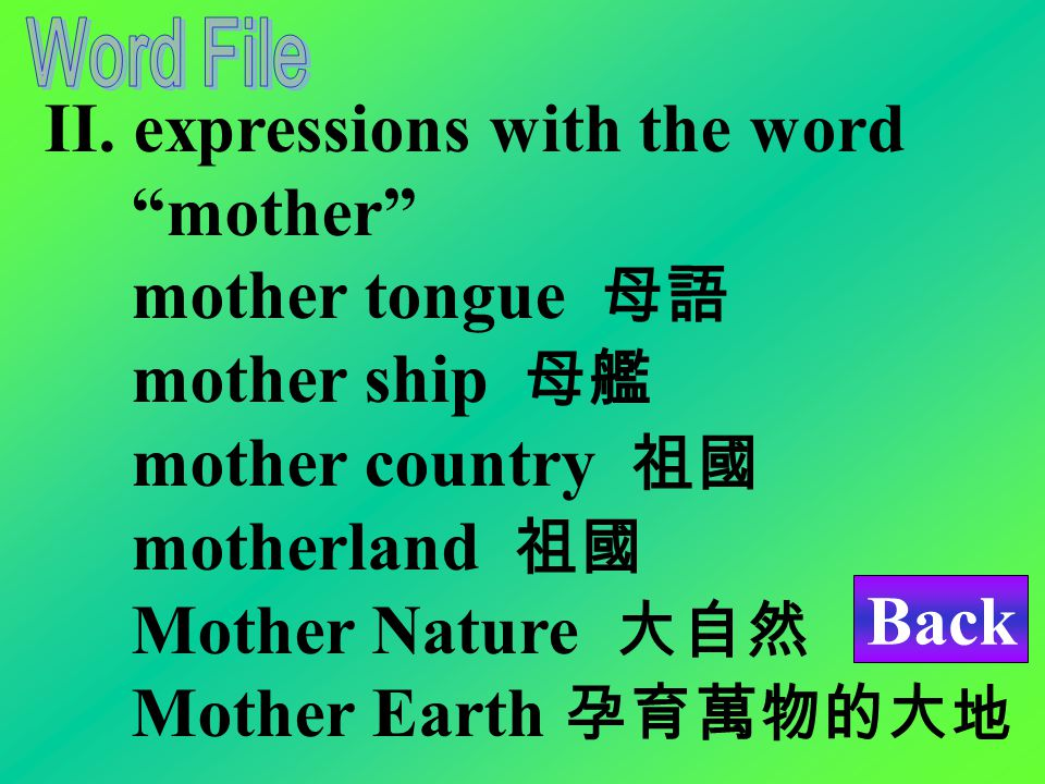 I. mothers stepmother 繼母 mother-in-law 岳母 foster/adoptive mother 養母 single mother 單親媽媽 biological mother 生母 unmarried mother 未婚媽媽