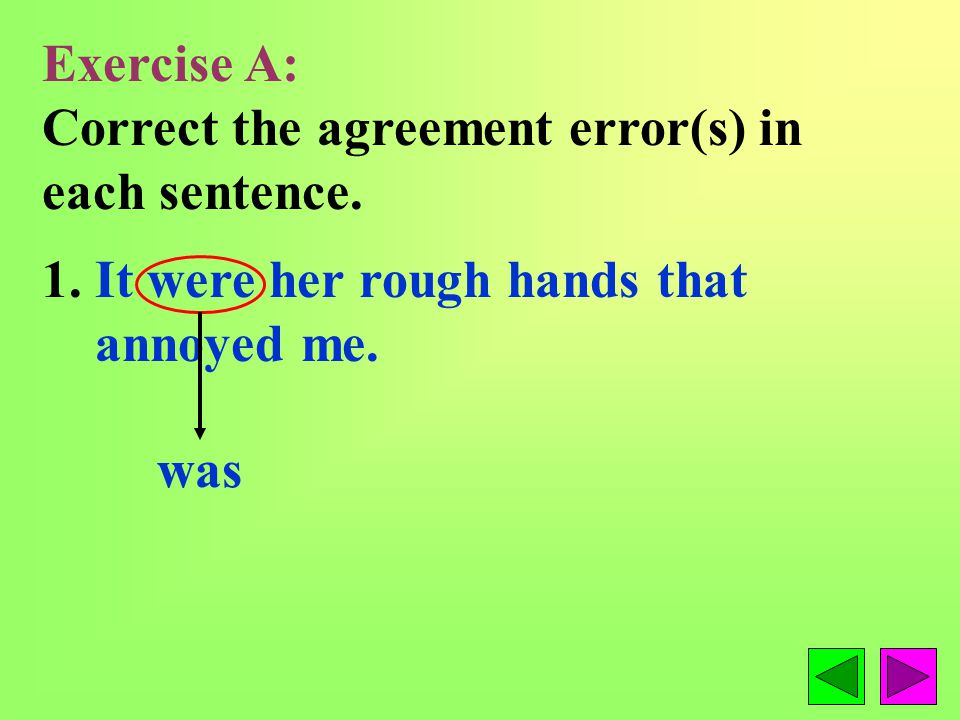 The subject and verb in a sentence must agree with each other.