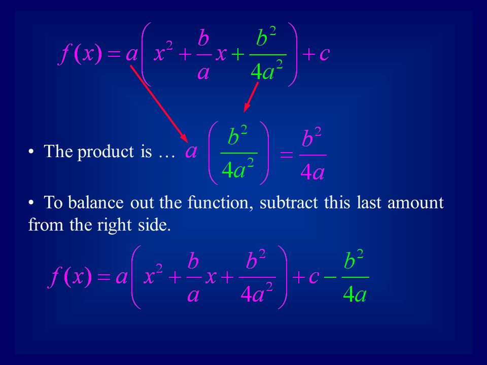 The product is … To balance out the function, subtract this last amount from the right side.