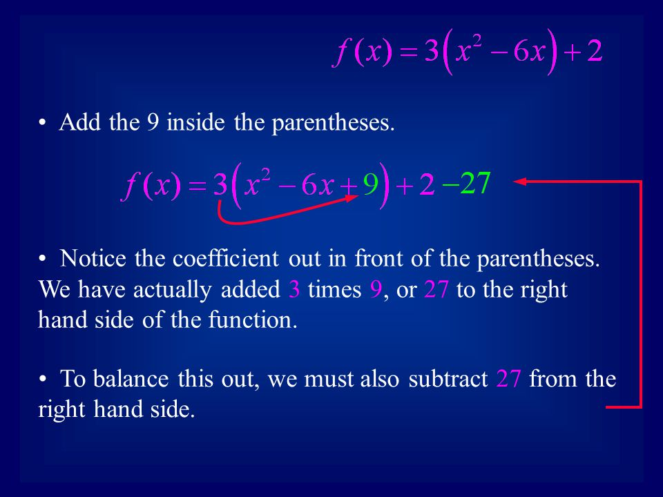 Add the 9 inside the parentheses. Notice the coefficient out in front of the parentheses.