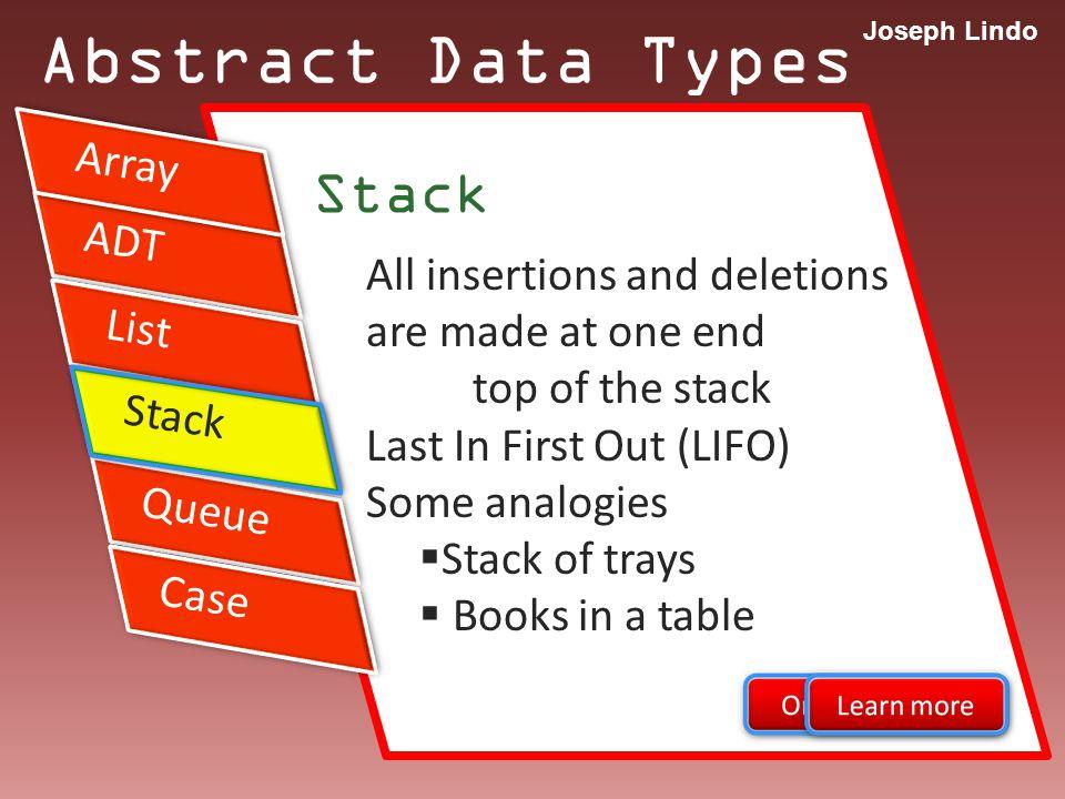 Joseph Lindo ADT Abstract Data Types Stack Application Arithmetic Expression INFIX PREFIX POSTFIX List Stack Queue Case Array Stack