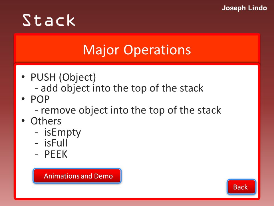 Joseph Lindo INFIX to PREFIX Stack Practice: 1.( ( A + ( B – D ) ) * C) 2.( ( ( C * B ) / ( E + B) )/ F )