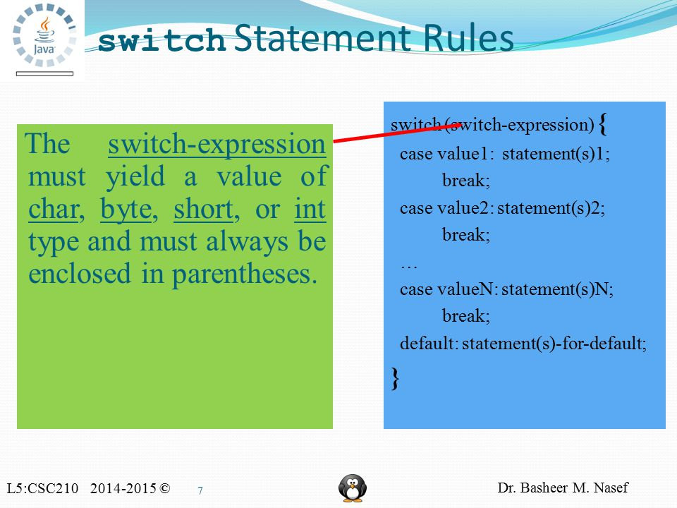 L5:CSC210 2014-2015 © Dr. Basheer M. Nasef 7 switch Statement Rules switch (switch-expression) { case value1: statement(s)1; break; case value2: state