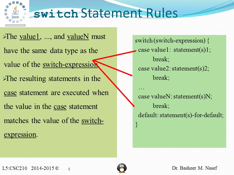 L5:CSC210 2014-2015 © Dr. Basheer M. Nasef 8 switch Statement Rules switch (switch-expression) { case value1: statement(s)1; break; case value2: state
